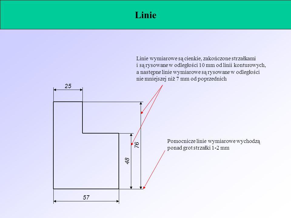 Linie Linie wymiarowe są cienkie, zakończone strzałkami