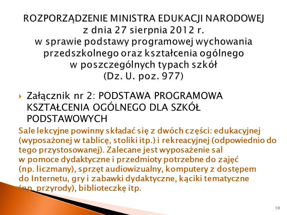 ROZPORZĄDZENIE MINISTRA EDUKACJI NARODOWEJ z dnia 27 sierpnia 2012 r