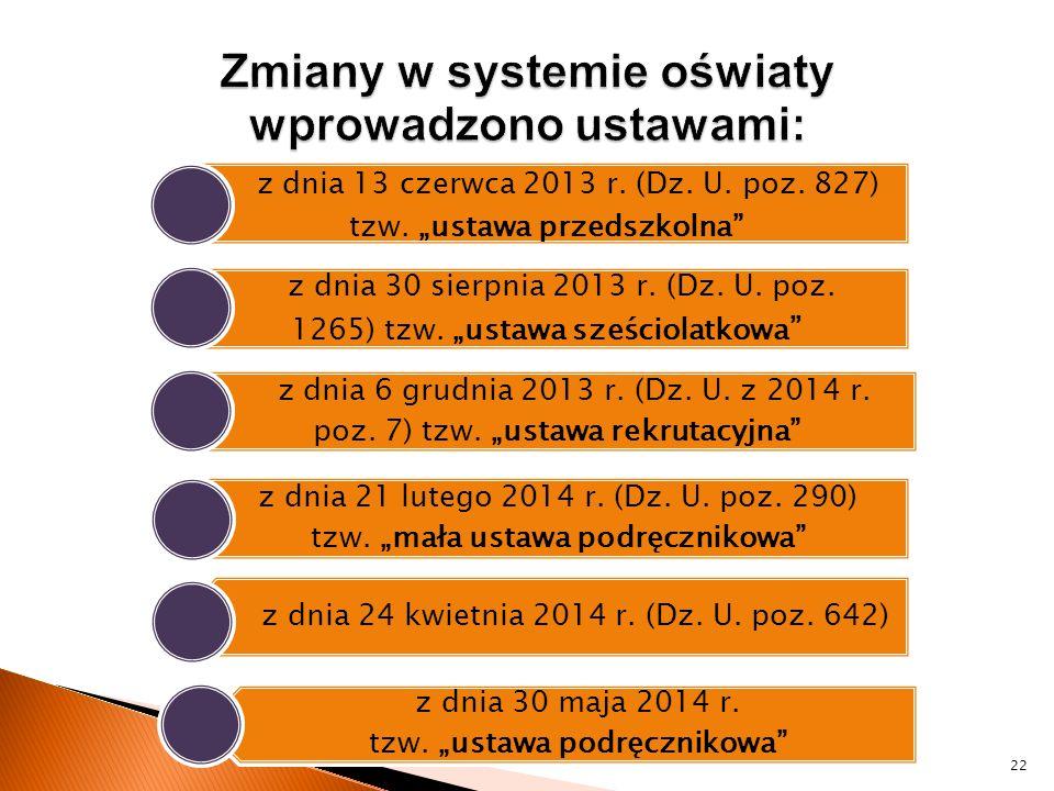 Zmiany w systemie oświaty wprowadzono ustawami: