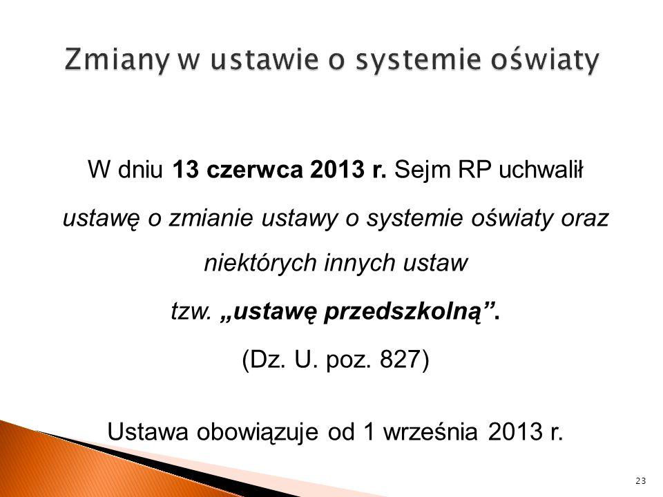 Zmiany w ustawie o systemie oświaty