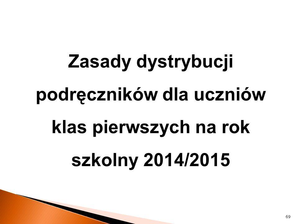 Zasady dystrybucji podręczników dla uczniów klas pierwszych na rok szkolny 2014/2015