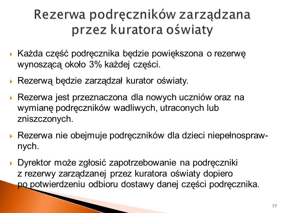 Rezerwa podręczników zarządzana przez kuratora oświaty