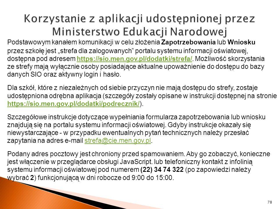 Korzystanie z aplikacji udostępnionej przez Ministerstwo Edukacji Narodowej