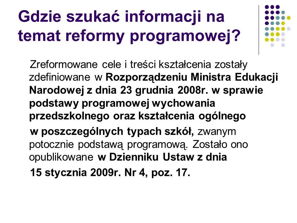 Gdzie szukać informacji na temat reformy programowej