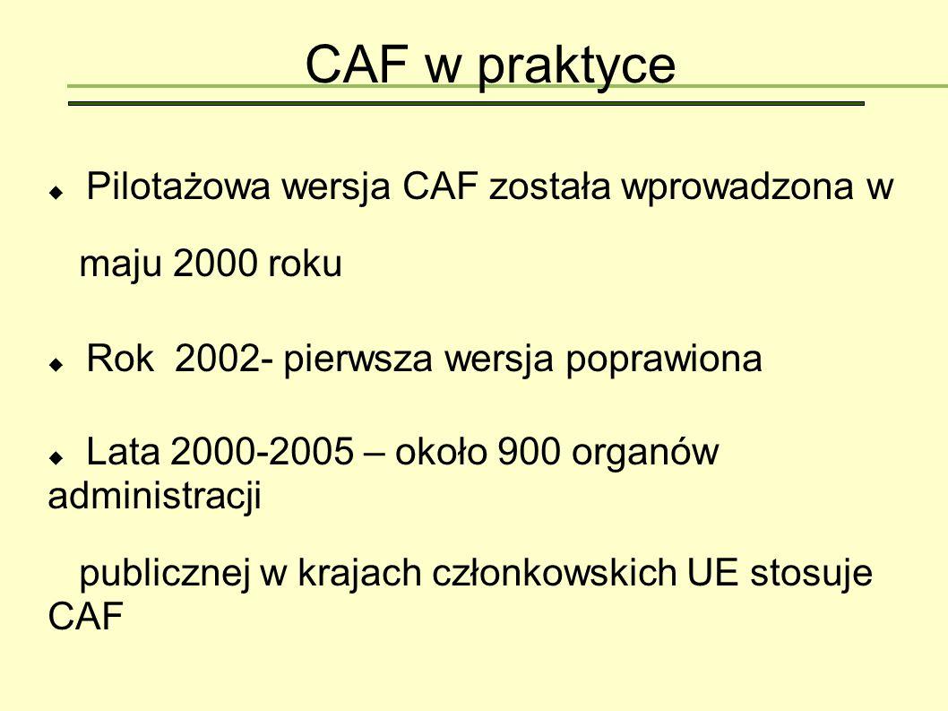 CAF w praktyce Pilotażowa wersja CAF została wprowadzona w