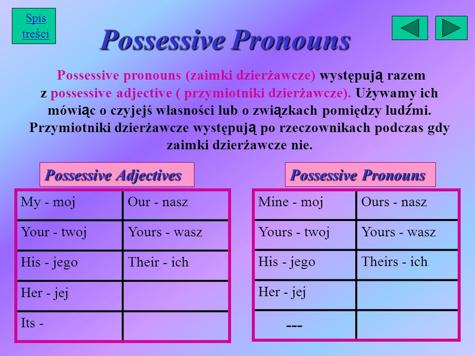 Possessive Pronouns --- Possessive Adjectives Possessive Pronouns