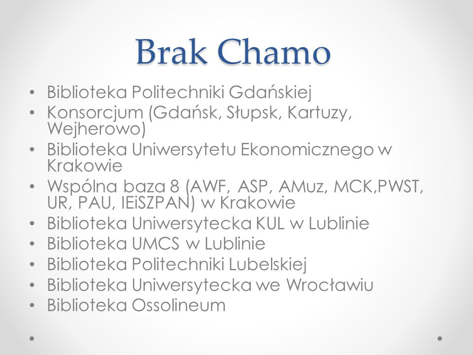 Brak Chamo Biblioteka Politechniki Gdańskiej