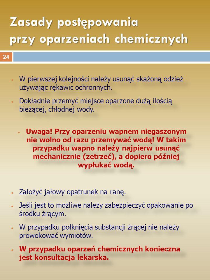 Zasady postępowania przy oparzeniach chemicznych