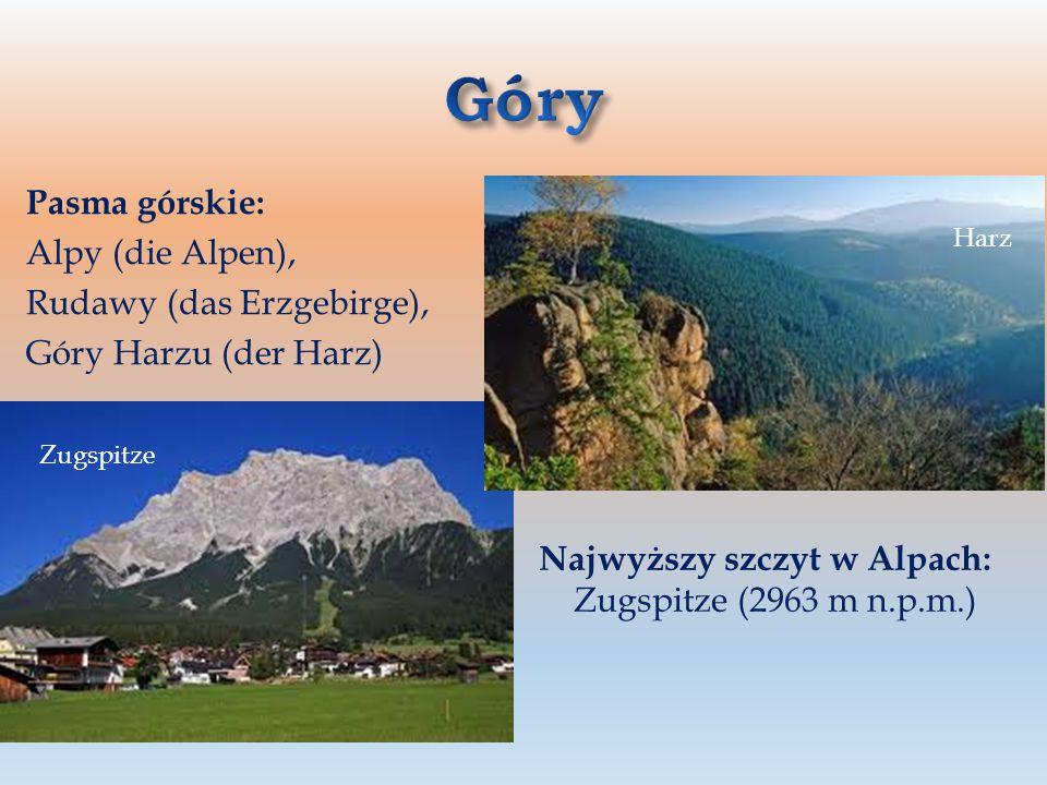 Góry Pasma górskie: Alpy (die Alpen), Rudawy (das Erzgebirge),