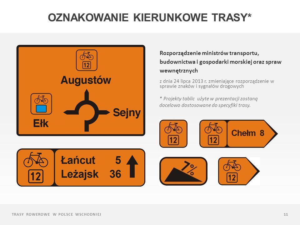 Oznakowanie kierunkowe trasy*