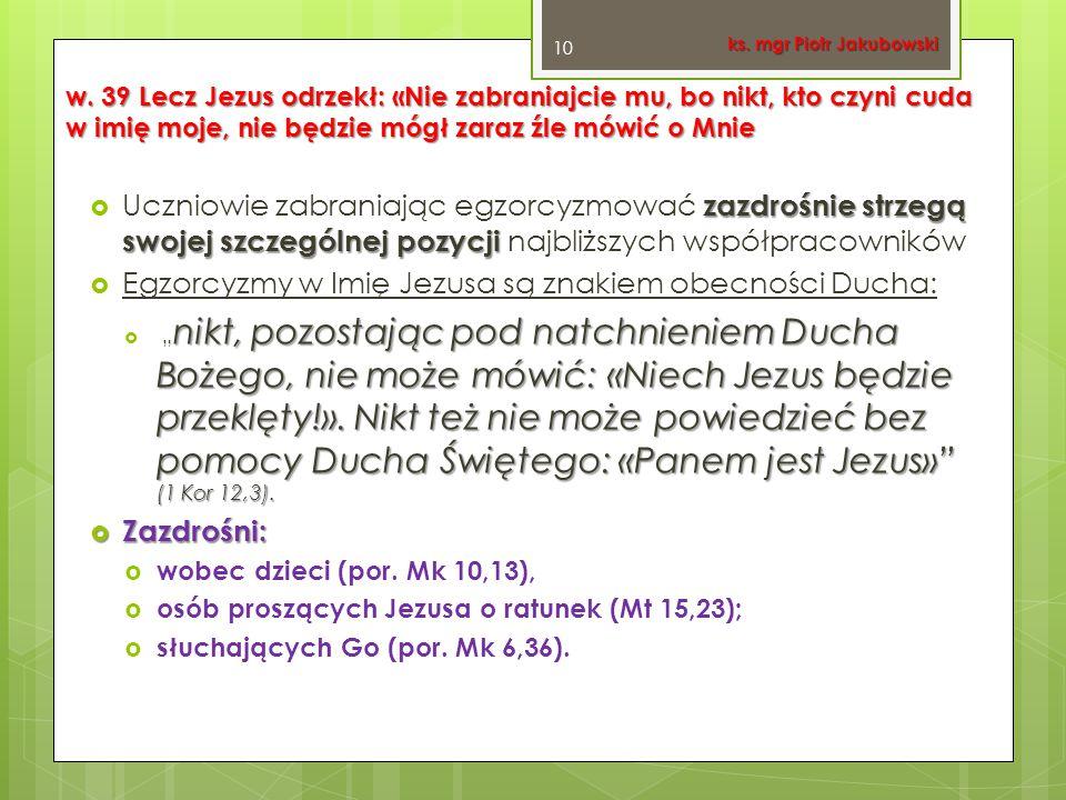 Egzorcyzmy w Imię Jezusa są znakiem obecności Ducha:
