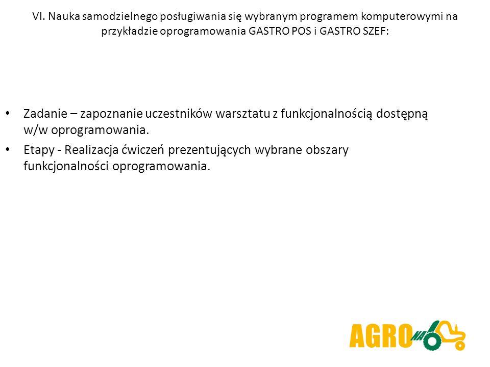 VI. Nauka samodzielnego posługiwania się wybranym programem komputerowymi na przykładzie oprogramowania GASTRO POS i GASTRO SZEF: