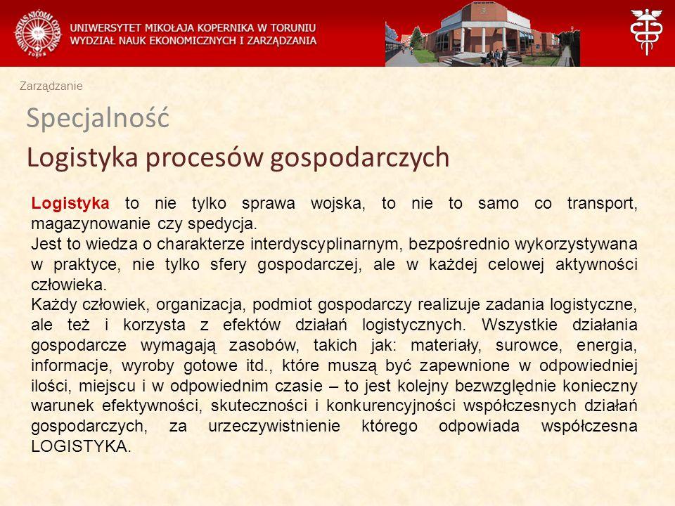 Specjalność Logistyka procesów gospodarczych