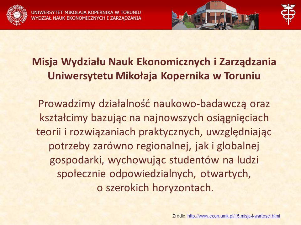 Misja Wydziału Nauk Ekonomicznych i Zarządzania Uniwersytetu Mikołaja Kopernika w Toruniu Prowadzimy działalność naukowo-badawczą oraz kształcimy bazując na najnowszych osiągnięciach teorii i rozwiązaniach praktycznych, uwzględniając potrzeby zarówno regionalnej, jak i globalnej gospodarki, wychowując studentów na ludzi społecznie odpowiedzialnych, otwartych, o szerokich horyzontach.