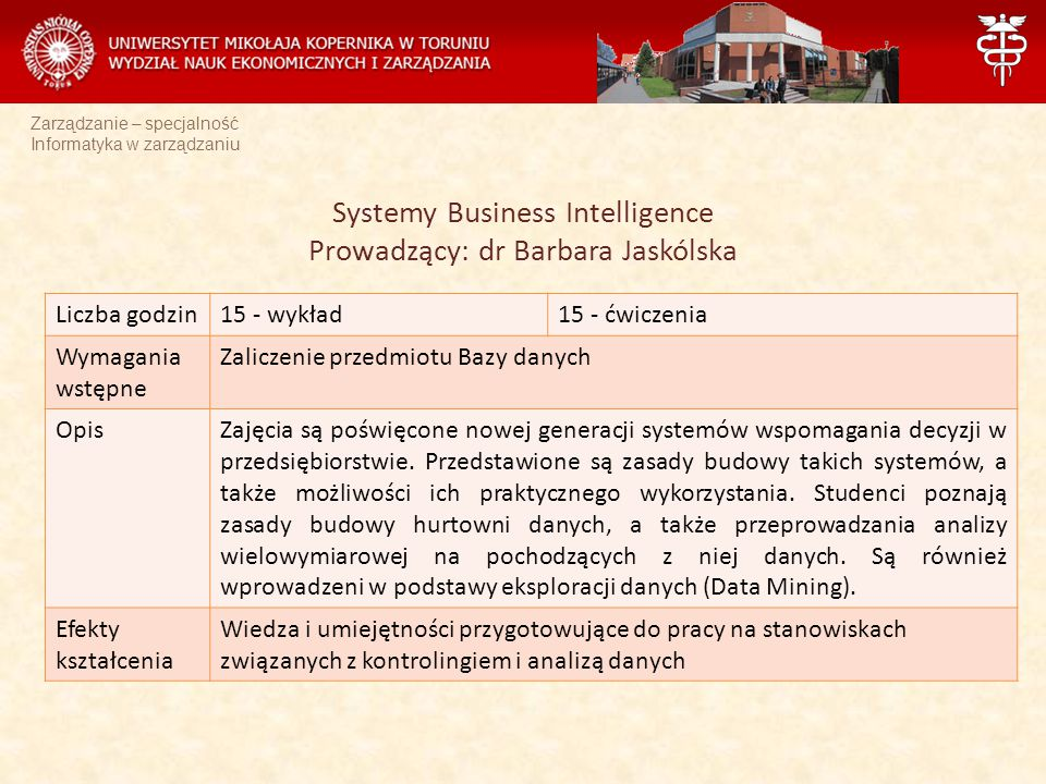 Zarządzanie – specjalność Informatyka w zarządzaniu