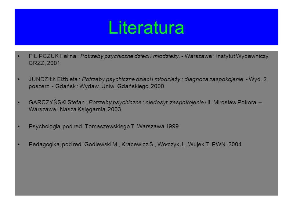 Literatura FILIPCZUK Halina : Potrzeby psychiczne dzieci i młodzieży. - Warszawa : Instytut Wydawniczy CRZZ, 2001.