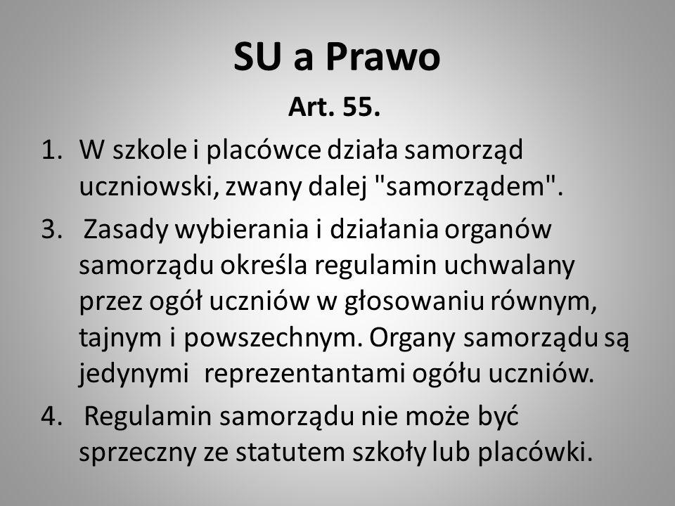SU a Prawo Art. 55. W szkole i placówce działa samorząd uczniowski, zwany dalej samorządem .