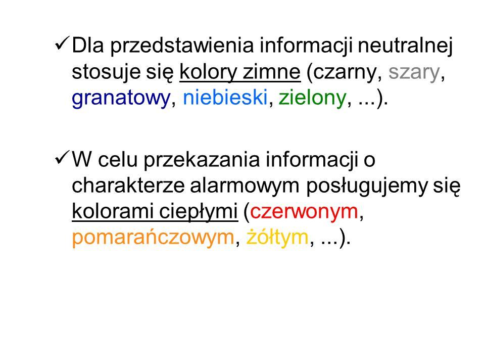 Dla przedstawienia informacji neutralnej stosuje się kolory zimne (czarny, szary, granatowy, niebieski, zielony, ...).