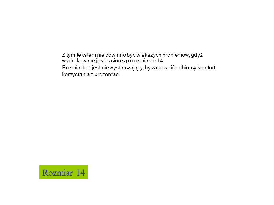 Z tym tekstem nie powinno być większych problemów, gdyż wydrukowane jest czcionką o rozmiarze 14.