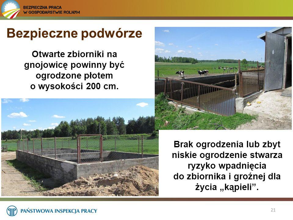Bezpieczne podwórze Otwarte zbiorniki na gnojowicę powinny być ogrodzone płotem o wysokości 200 cm.