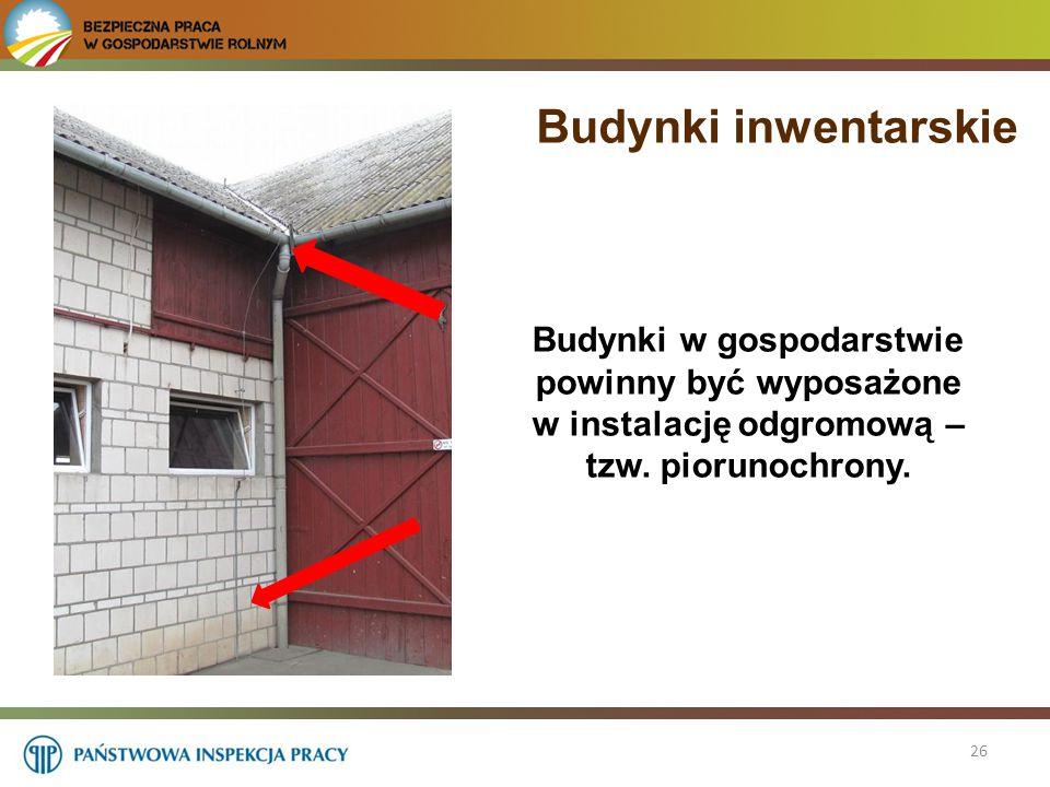 Budynki inwentarskie Budynki w gospodarstwie powinny być wyposażone w instalację odgromową – tzw. piorunochrony.