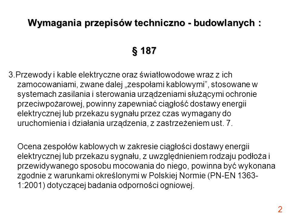 Wymagania przepisów techniczno - budowlanych :