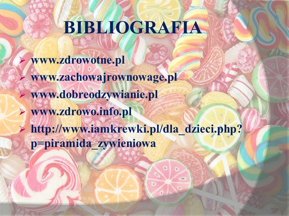 BIBLIOGRAFIA www.zdrowotne.pl www.zachowajrownowage.pl