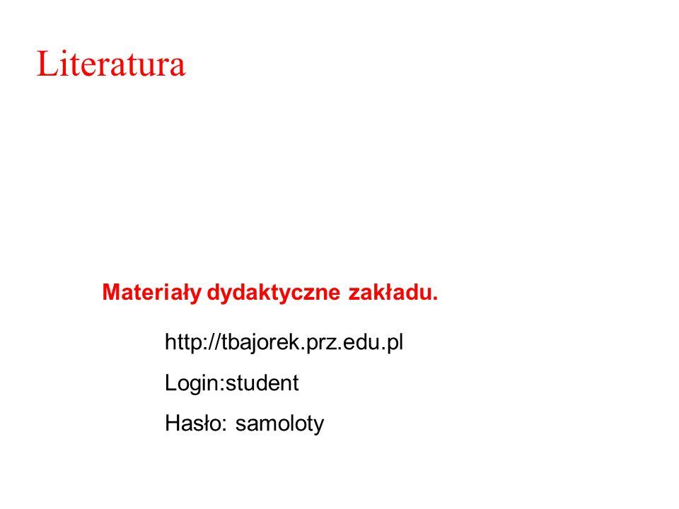 Literatura Materiały dydaktyczne zakładu. http://tbajorek.prz.edu.pl