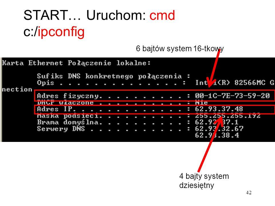 START… Uruchom: cmd c:/ipconfig