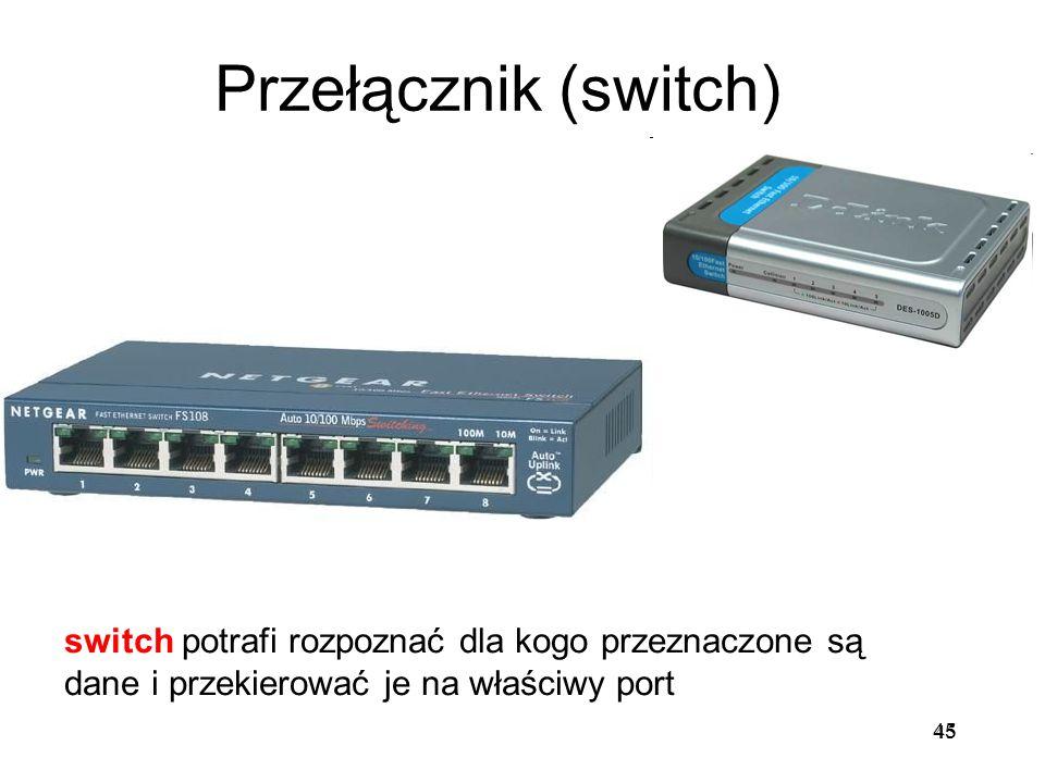 Przełącznik (switch) switch potrafi rozpoznać dla kogo przeznaczone są dane i przekierować je na właściwy port.