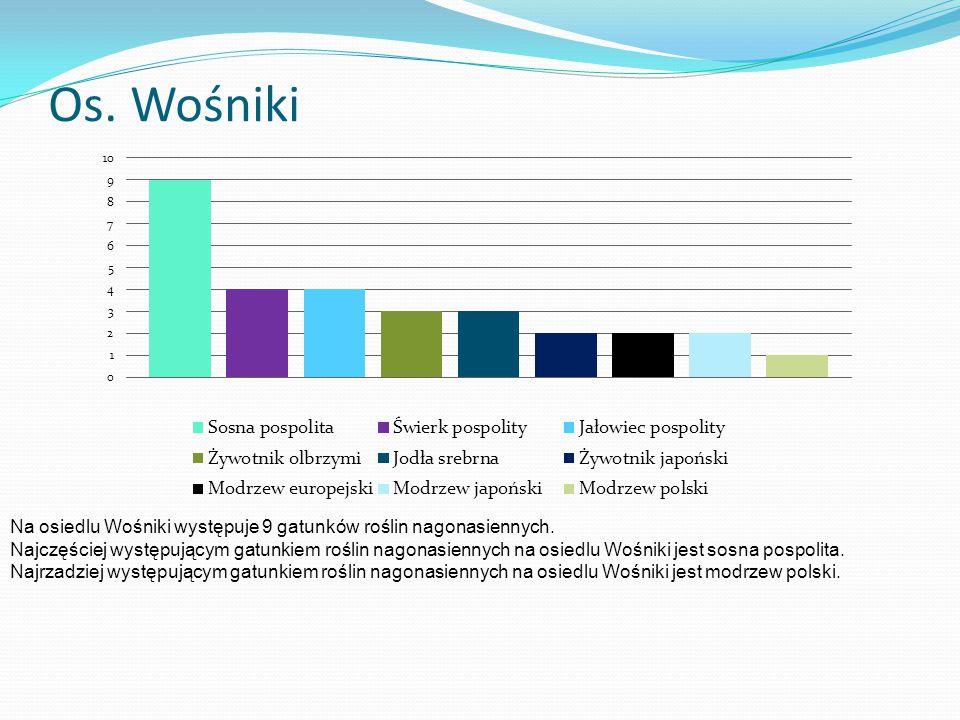 Os. Wośniki Na osiedlu Wośniki występuje 9 gatunków roślin nagonasiennych.
