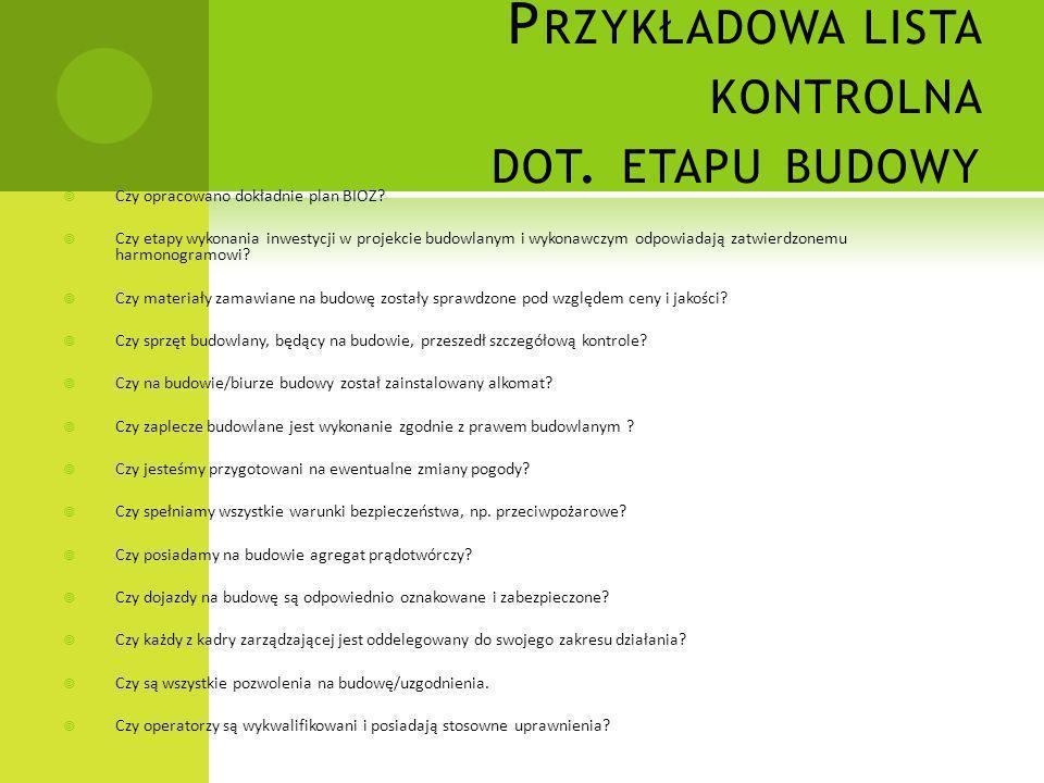 Przykładowa lista kontrolna dot. etapu budowy