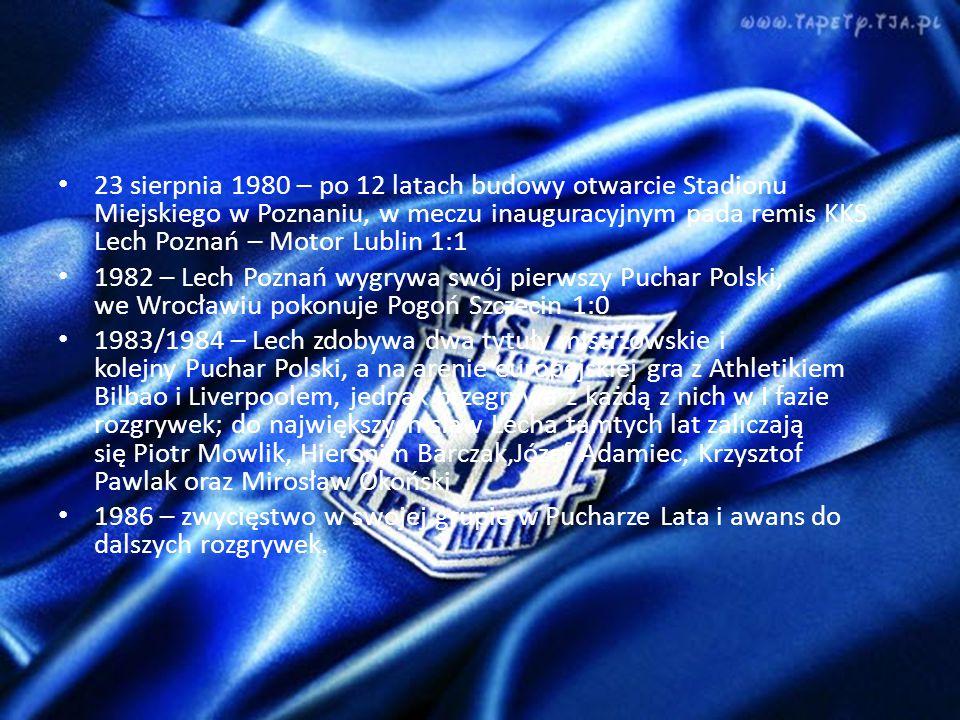 23 sierpnia 1980 – po 12 latach budowy otwarcie Stadionu Miejskiego w Poznaniu, w meczu inauguracyjnym pada remis KKS Lech Poznań – Motor Lublin 1:1