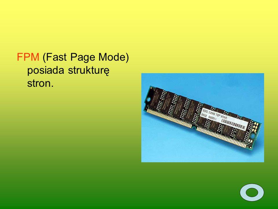 FPM (Fast Page Mode) posiada strukturę stron.