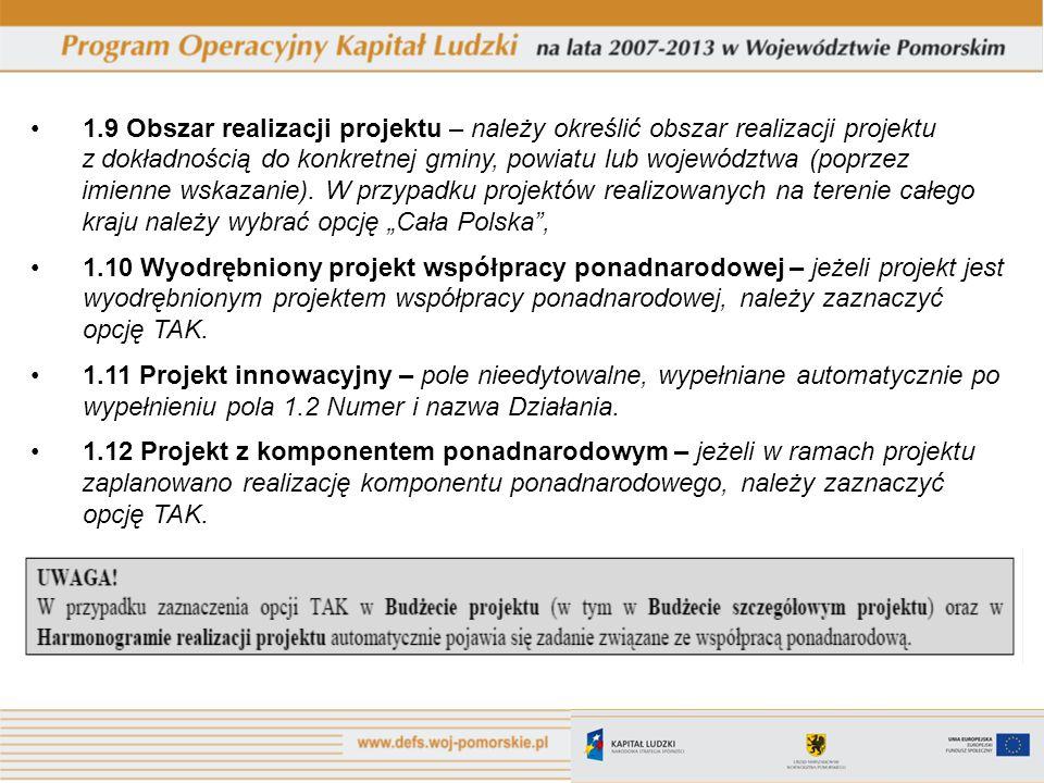 1.9 Obszar realizacji projektu – należy określić obszar realizacji projektu