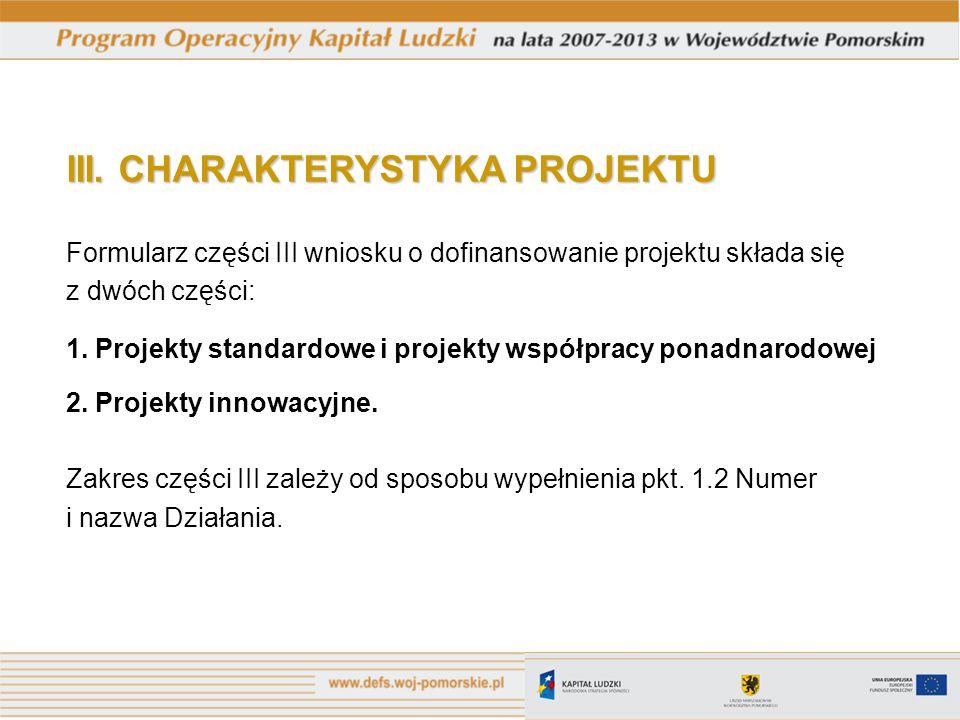III. CHARAKTERYSTYKA PROJEKTU