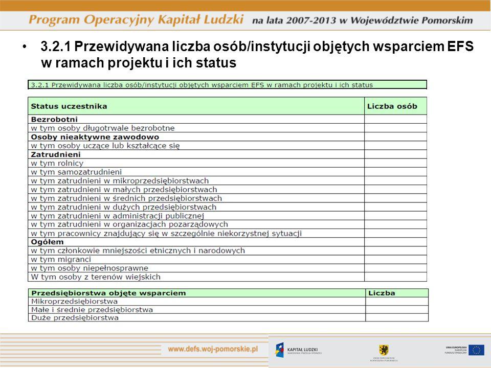3.2.1 Przewidywana liczba osób/instytucji objętych wsparciem EFS