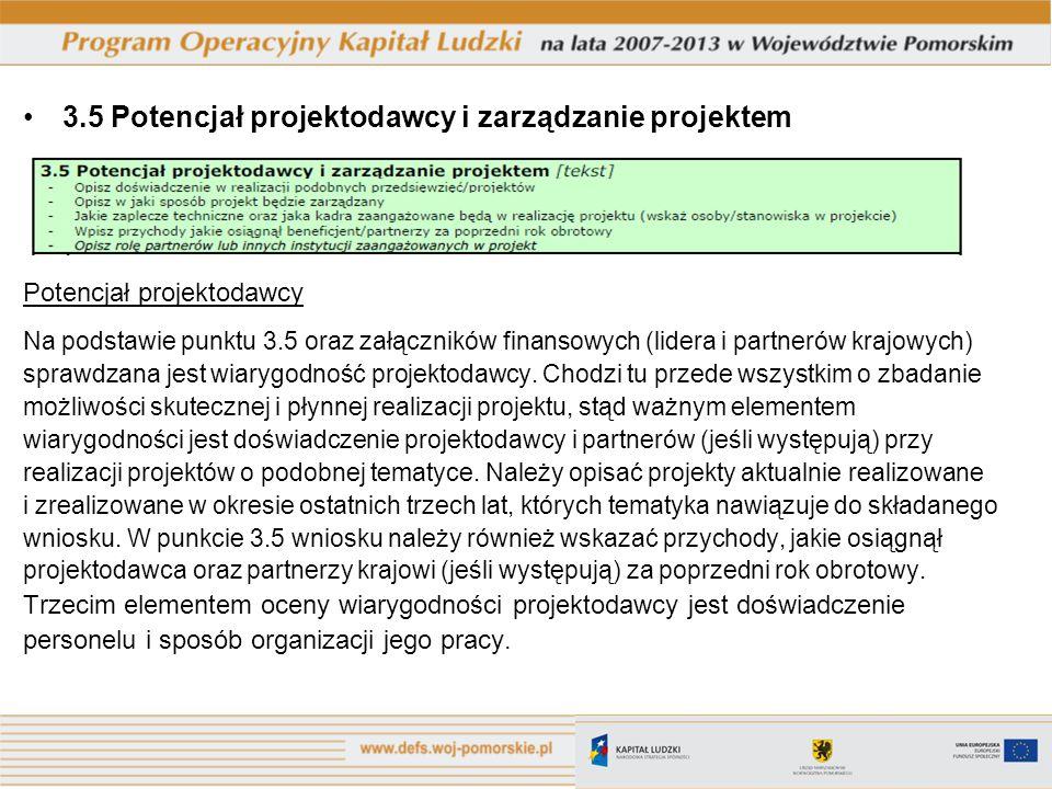 3.5 Potencjał projektodawcy i zarządzanie projektem