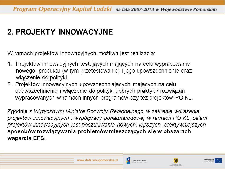2. PROJEKTY INNOWACYJNE W ramach projektów innowacyjnych możliwa jest realizacja: