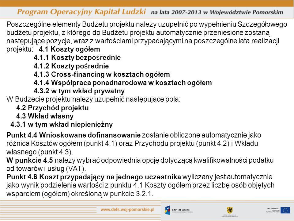 projektu: 4.1 Koszty ogółem 4.1.1 Koszty bezpośrednie