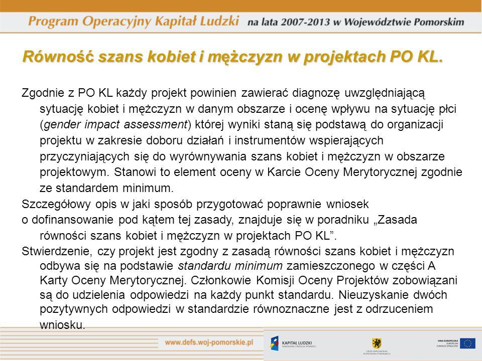 Równość szans kobiet i mężczyzn w projektach PO KL.