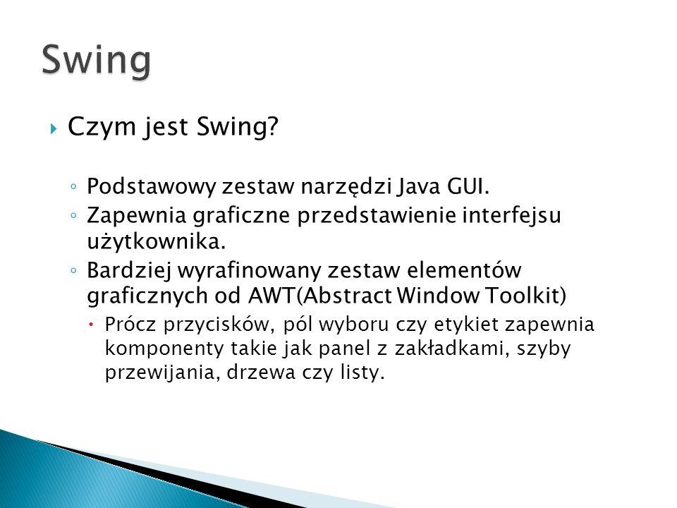 Swing Czym jest Swing Podstawowy zestaw narzędzi Java GUI.