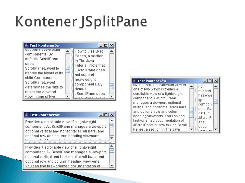 Kontener JSplitPane