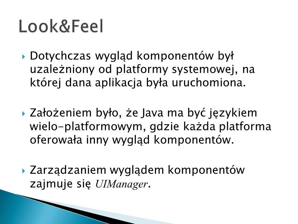 Look&Feel Dotychczas wygląd komponentów był uzależniony od platformy systemowej, na której dana aplikacja była uruchomiona.