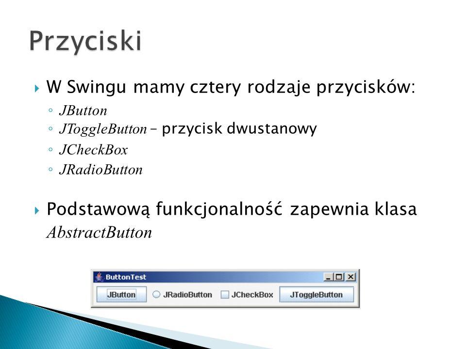 Przyciski W Swingu mamy cztery rodzaje przycisków: