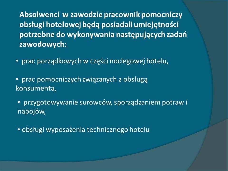 Absolwenci w zawodzie pracownik pomocniczy obsługi hotelowej będą posiadali umiejętności potrzebne do wykonywania następujących zadań zawodowych: