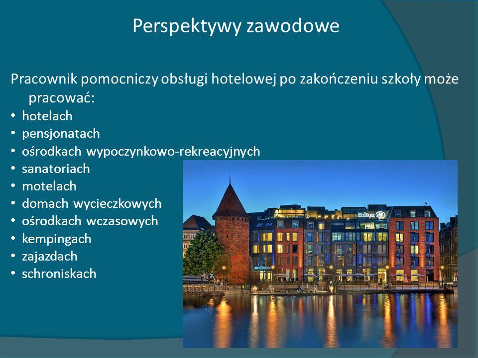 Perspektywy zawodowe Pracownik pomocniczy obsługi hotelowej po zakończeniu szkoły może pracować: hotelach.