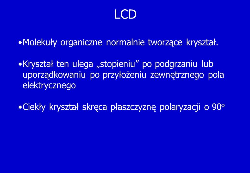 LCD Molekuły organiczne normalnie tworzące kryształ.