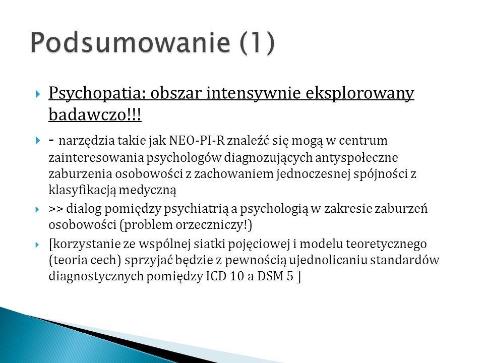 Podsumowanie (1) Psychopatia: obszar intensywnie eksplorowany badawczo!!!