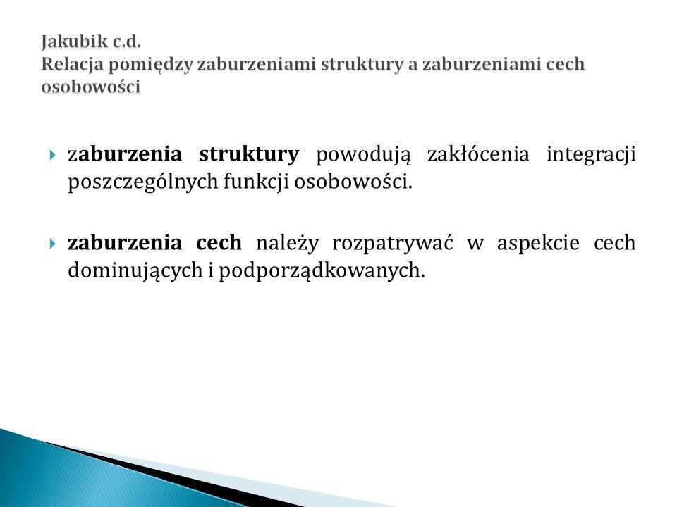 Jakubik c.d. Relacja pomiędzy zaburzeniami struktury a zaburzeniami cech osobowości